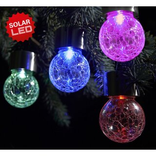 "LED-Solarpendelleuchte h: 9,5cm ""Crackle Ball"""